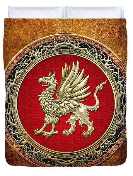 Sacred Golden Griffin On Brown Leather Duvet Cover