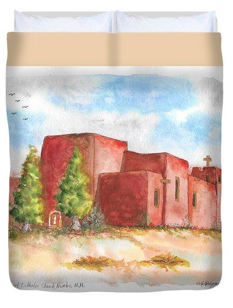 Sacred Heart Catholic Church, Nambe, New Mexico Duvet Cover