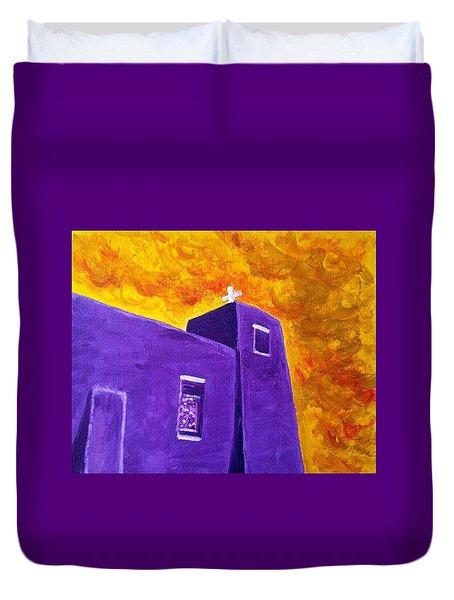 Sacred Heart Nambe Nm Sunset Duvet Cover by Brenda Pressnall