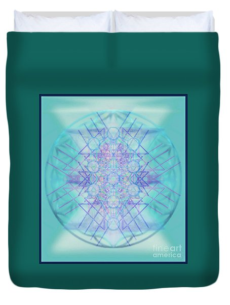 Duvet Cover featuring the digital art Sacred Symbols Out Of The Void A2b by Christopher Pringer