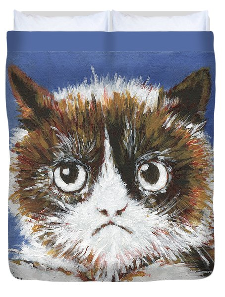 Sad Cat Duvet Cover