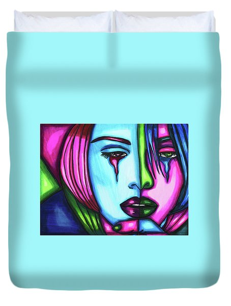 Sad Crying Woman Face Abstract Art Duvet Cover