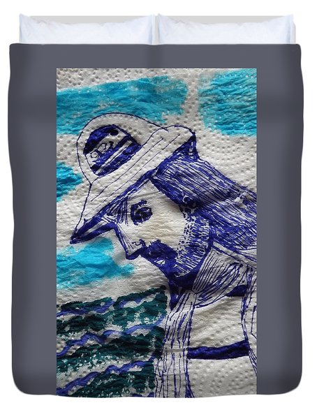 Duvet Cover featuring the painting Sad Sailor by Don Koester