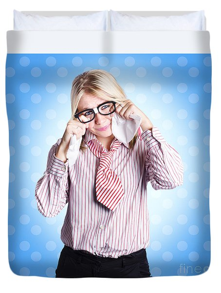 Sad Worker In Business Trouble Duvet Cover