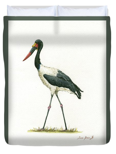 Saddle Billed Stork Duvet Cover