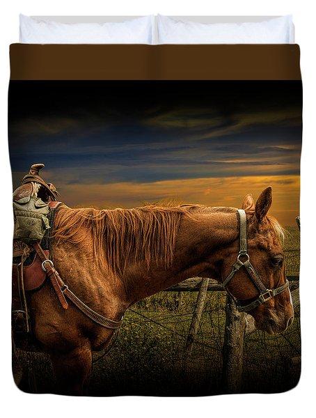Saddle Horse On The Prairie Duvet Cover