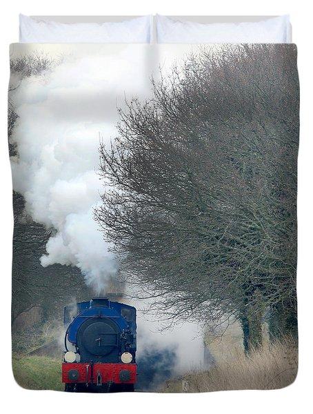 Saddle-tank Locomotive Puffing Uphill Duvet Cover
