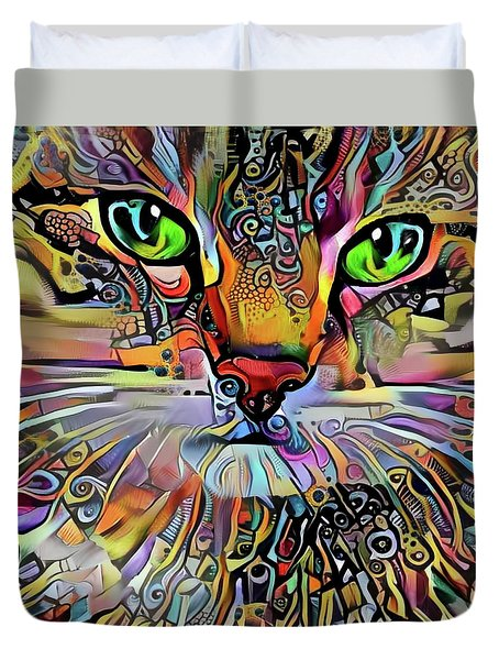 Sadie The Colorful Abstract Cat Duvet Cover