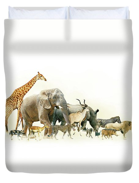 Safari Animals Walking Side Horizontal Banner Duvet Cover