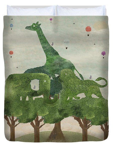 Duvet Cover featuring the painting Safari Wood by Bri B