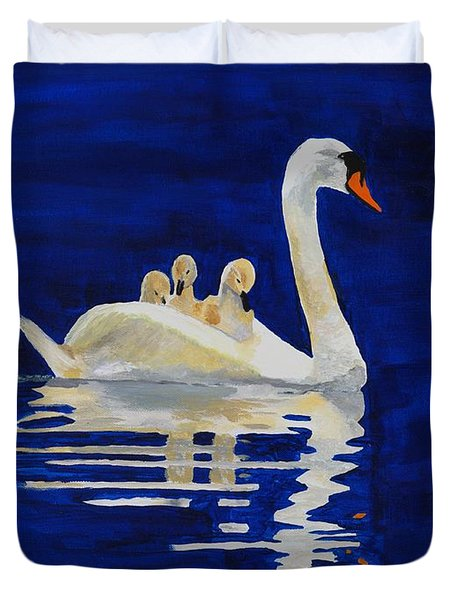 Duvet Cover featuring the painting Safe Harbor by Rodney Campbell