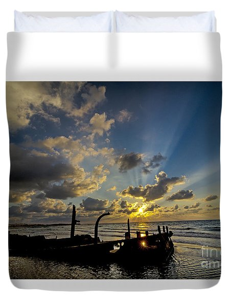 Duvet Cover featuring the photograph Safe Shore 03 by Arik Baltinester