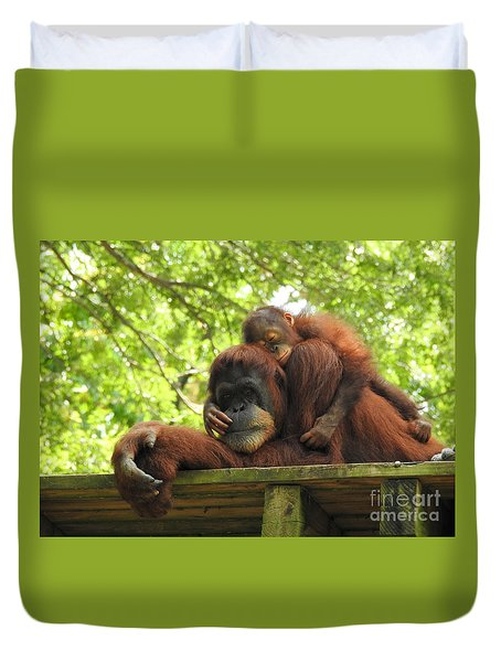 Duvet Cover featuring the photograph Safe With Mom by Lisa L Silva