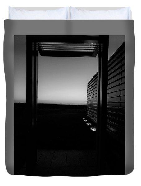 Duvet Cover featuring the photograph Sag Harbor Sunset 2 In Black And White by Rob Hans