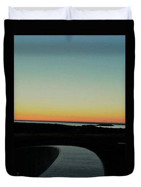 Duvet Cover featuring the photograph Sag Harbor Sunset 3 In Black And White by Rob Hans