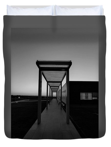 Duvet Cover featuring the photograph Sag Harbor Sunset In Black And White by Rob Hans