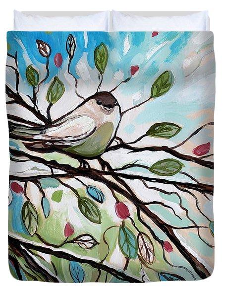 Sage Glimmering Songbird  Duvet Cover