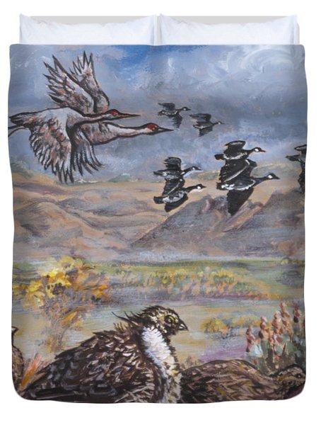 Sage Grouse Watch The Migration Duvet Cover