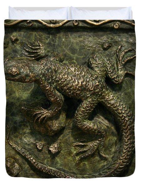 Sagebrush Lizard Duvet Cover by Dawn Senior-Trask