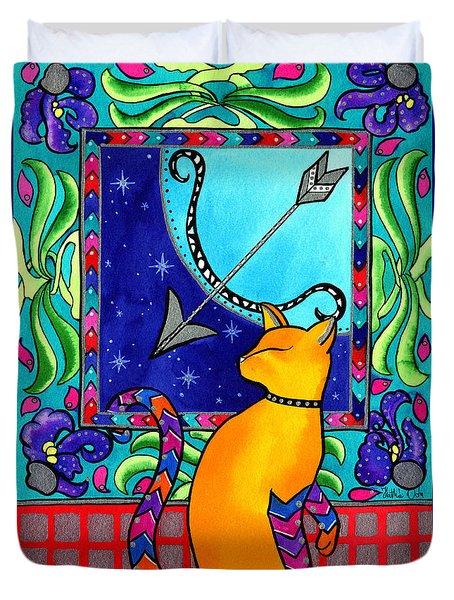 Sagittarius Cat Zodiac Duvet Cover