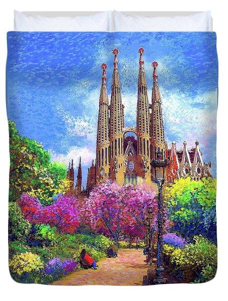 Sagrada Familia And Park,barcelona Duvet Cover by Jane Small