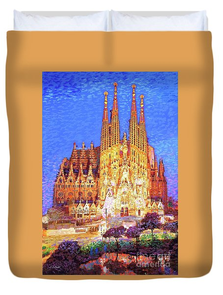 Duvet Cover featuring the painting Sagrada Familia At Night by Jane Small