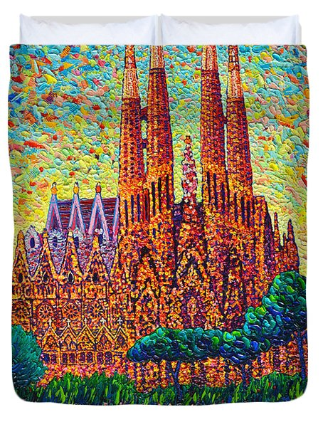 Sagrada Familia Barcelona Modern Impressionist Palette Knife Oil Painting By Ana Maria Edulescu Duvet Cover by Ana Maria Edulescu
