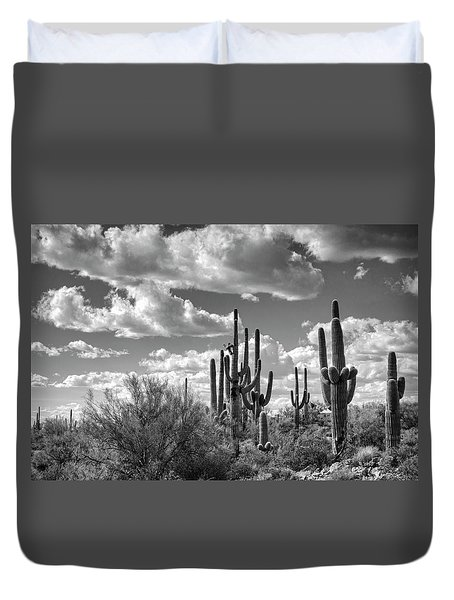Duvet Cover featuring the photograph Saguaro And Blue Skies Ahead In Black And White  by Saija Lehtonen