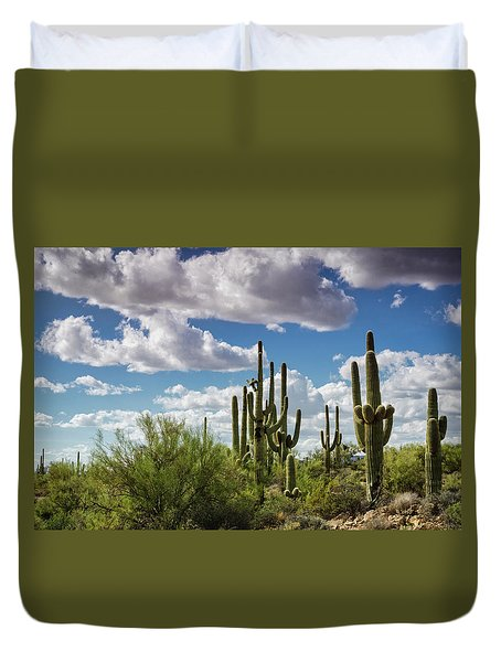 Duvet Cover featuring the photograph Saguaro And Blue Skies Ahead  by Saija Lehtonen