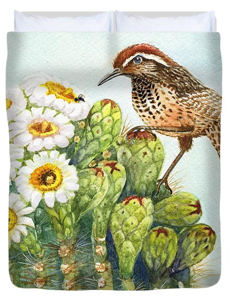 Duvet Cover featuring the painting Saguaro And Cactus Wren by Marilyn Smith