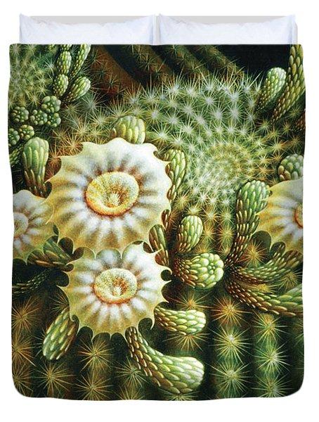 Saguaro Cactus Blossoms Duvet Cover