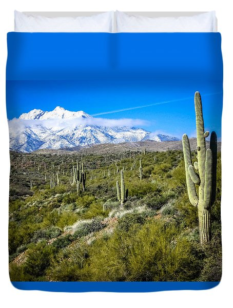 Saguaro Cactus In Arizona Duvet Cover by Gregory Daley  PPSA
