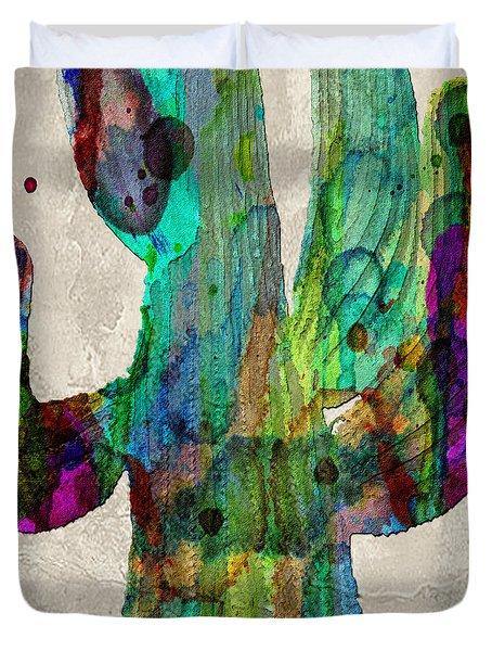 Saguaro Cactus Rainbow Print Poster Duvet Cover