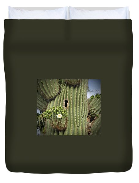 Saguaro In Bloom Duvet Cover