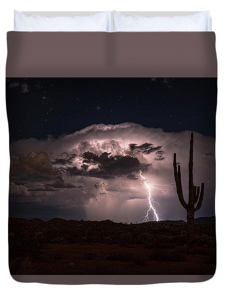 Duvet Cover featuring the photograph Saguaro Lit Up By The Lightning  by Saija Lehtonen
