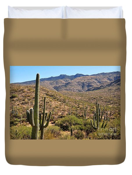 Duvet Cover featuring the photograph Saguaro National Park by Gina Savage