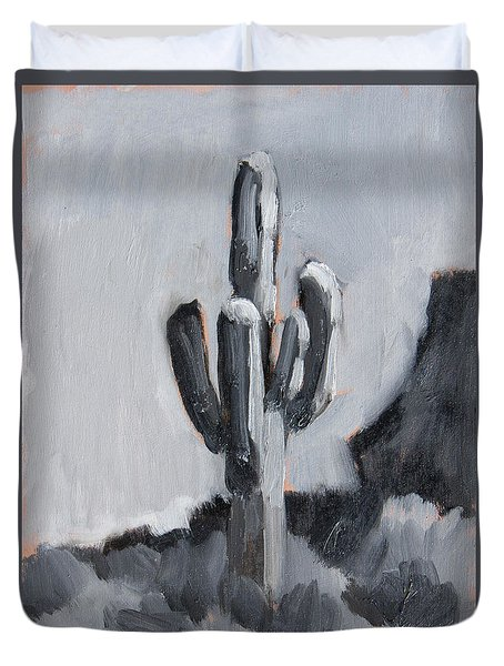 Duvet Cover featuring the painting Saguaro Plein Air Study by Diane McClary