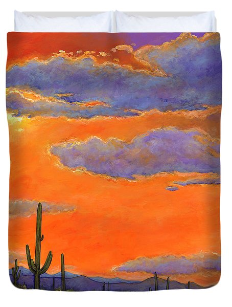 Saguaro Sunset Duvet Cover by Johnathan Harris