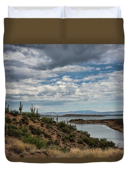 Duvet Cover featuring the photograph Saguaro With A Lake View  by Saija Lehtonen