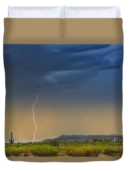 Saguaro With Lightning Duvet Cover