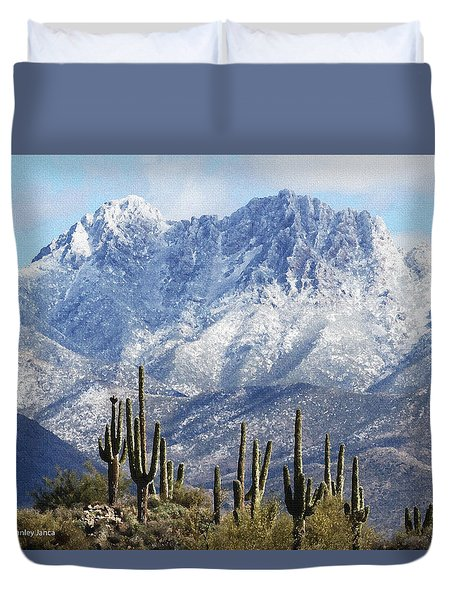 Saguaros At Four Peaks With Snow Duvet Cover
