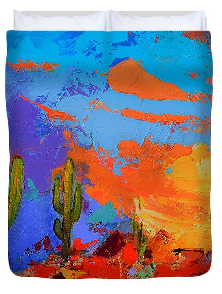 Saguaros Land Sunset By Elise Palmigiani - Square Version Duvet Cover