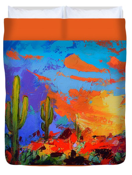 Duvet Cover featuring the painting Saguaros Land Sunset By Elise Palmigiani - Square Version by Elise Palmigiani
