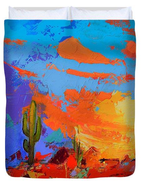 Saguaros Land Sunset Duvet Cover