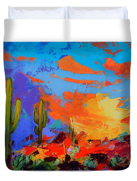 Saguaros Land Sunset Duvet Cover