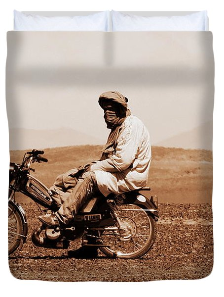 Duvet Cover featuring the photograph Sahara Biker by Ramona Johnston