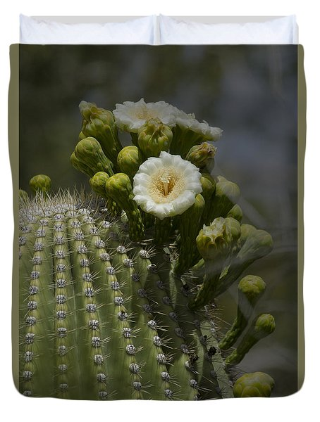 Sahuaro Cactus In Bloom-signed-#3331 Duvet Cover by J L Woody Wooden