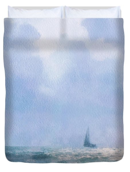 Duvet Cover featuring the digital art Sail At Sea by Francesa Miller