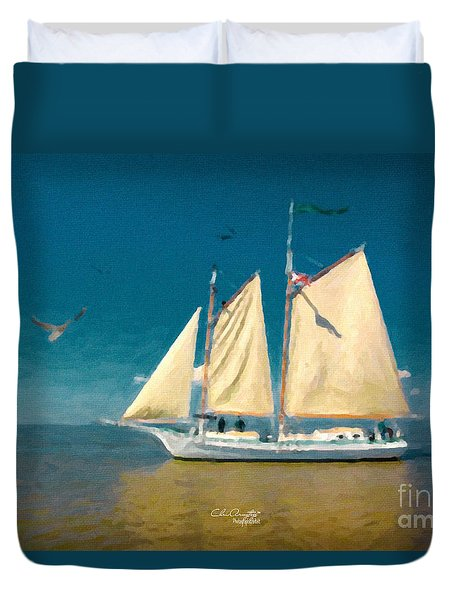 Duvet Cover featuring the painting Sail Away by Chris Armytage