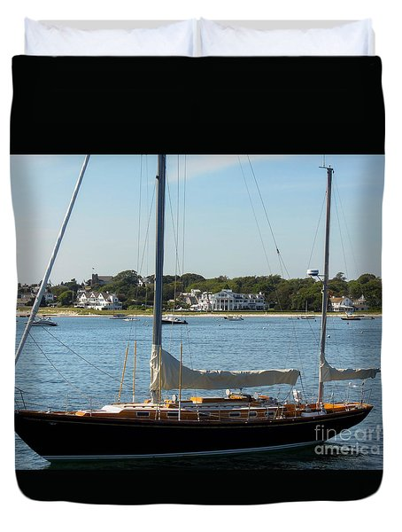 Sail Boat At Hyannis Duvet Cover